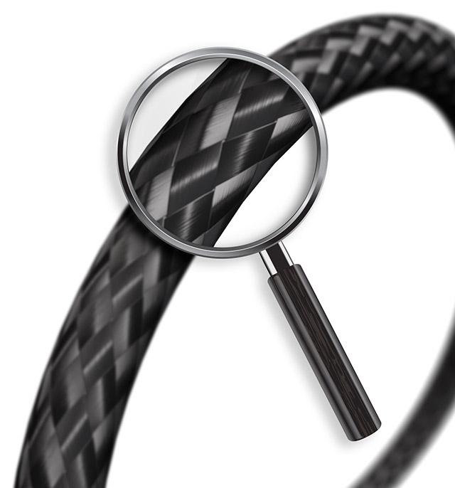 Lupa dá zoom no produto Cabo BeVX, mostrando o seu material de forma ampliada