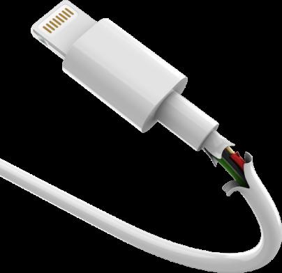 Um cabo branco genérico quebrado