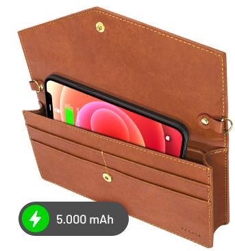 Celular carregando dentro da handbag