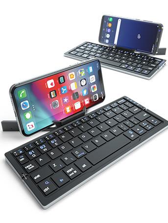Produto teclado bluetooth sendo usado em dois dispositivos: Um que usa iOS e outro que usa Android