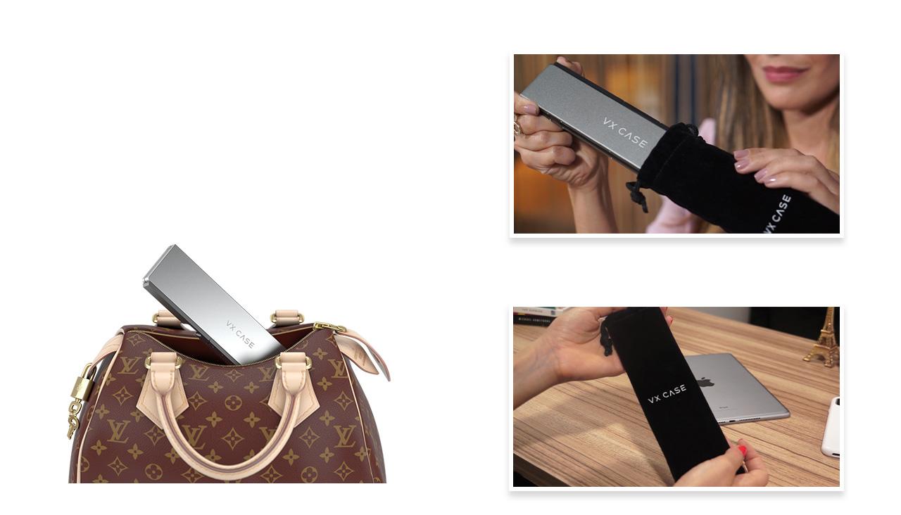 Produto Teclado Bluetooth sendo guardado dentro de uma bag e sendo transportado dentro de uma bolsa feminina