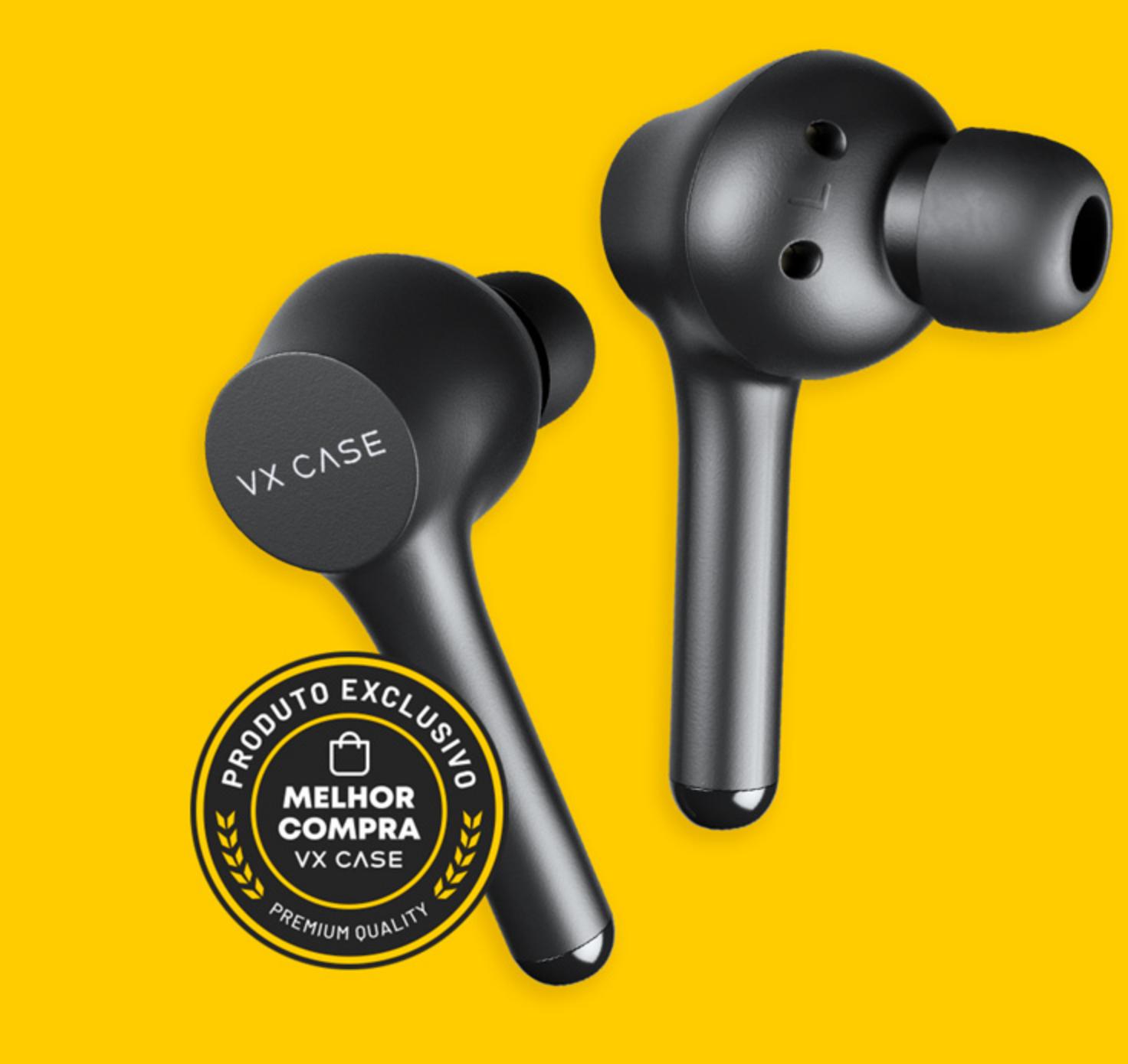 Par de fones de ouvidos VX Pods com selo de qualidade premium VX Case