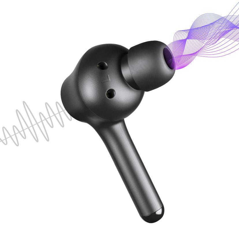 Produto VX Pods em ilustração de ondas sonoras